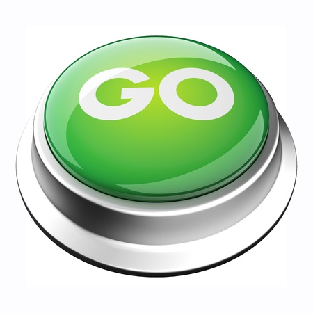 glossy 3D go button in brushed metal frame