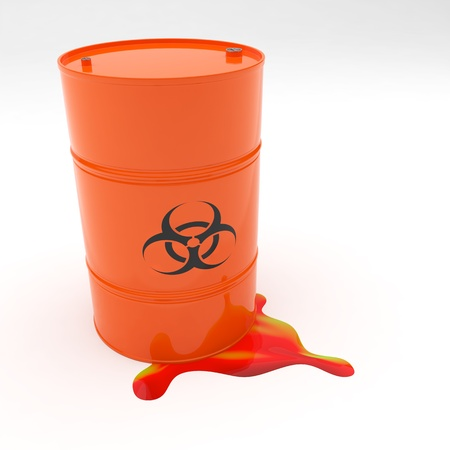 containment: Steel 55 gallon drum orange in color with biohazard symbol leaking contents Stock Photo