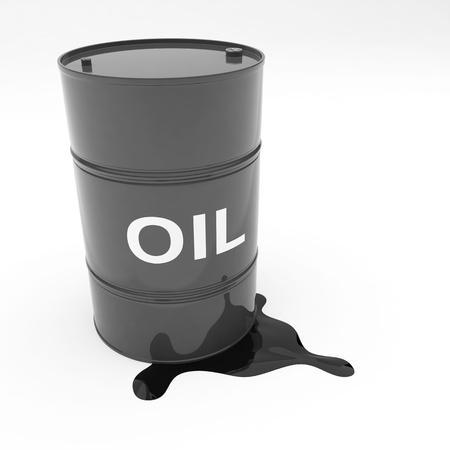 oil barrel: Tambor de acero gal�n 55 aceite negro en color filtraci�n de contenido Foto de archivo