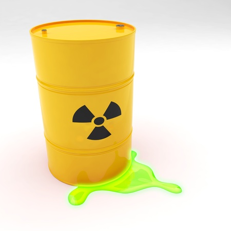 chemical hazard: Steel 55 gallon drum yellow in color with radiation symbol leaking contents