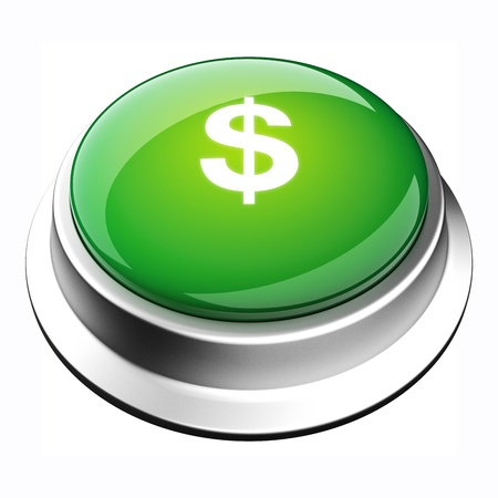 glossy 3D money button in brushed metal frame Stock Photo