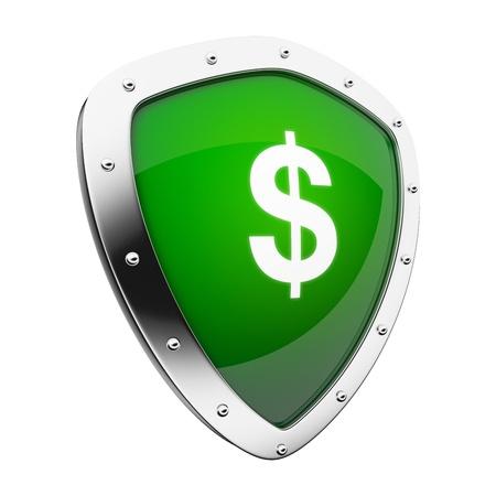 Scudo d'argento con un denaro / dollaro segno su sfondo verde. Archivio Fotografico - 11588811
