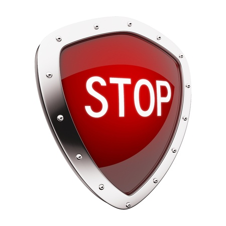 Silver shield with stop on red background.