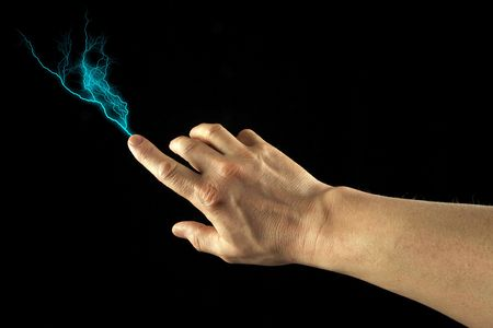 Finger firing lightning bolt. Black Background.