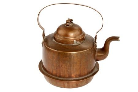 kettles:  Antiguo pote caf� sobre fondo blanco