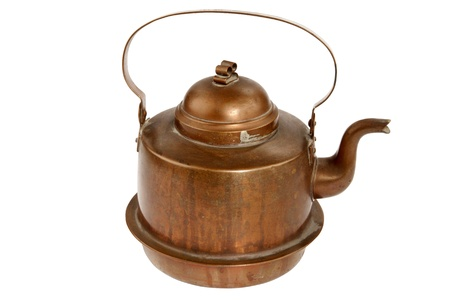 boiling pot:  Antique copper coffee pot on white background Stock Photo