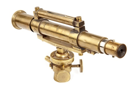 spyglass: Antique telescope on white background