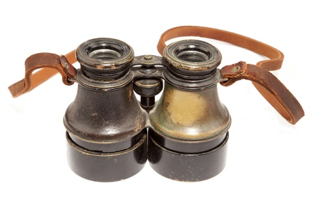 Antique binoculars on white background Stock Photo