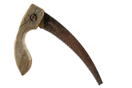 Old rusty hand saw on white background Stock Photo
