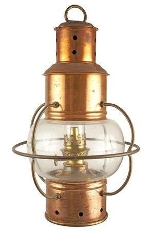 Old brass lantern with petroluem light