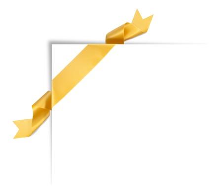 Orange ribbon banner with shadow corner