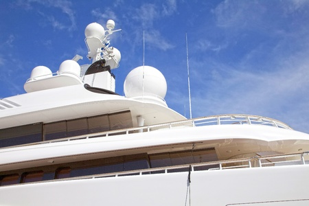 Yacht radar technology and communications equipment from luxurious yacht