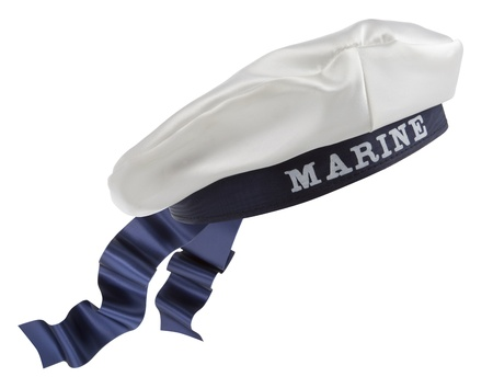 White Nautical hat with blue ribbon on white background