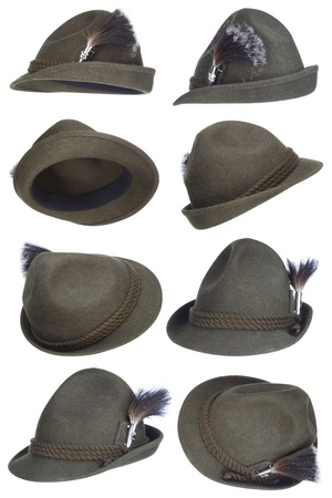 Tirol hat collection with white background photo