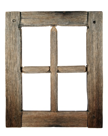 Very old grunged wooden window frame isolated in white  Stock Photo