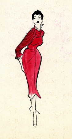 Sketch of a woman dress over plain background
