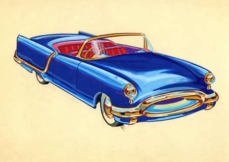 Sketch of a old car over plain background Stock Photo