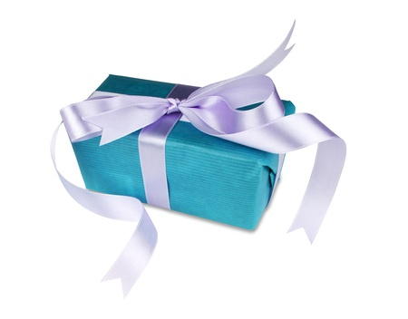 Blue gift box with a bow on white background