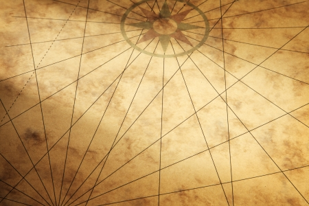 Background image with old paper texture and compass