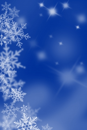 Blue background with snow flakes.