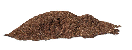 A pile of organic tree bark mulch