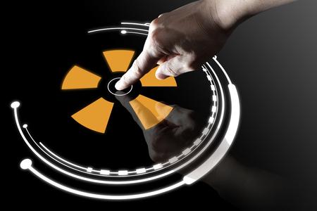 icono computadora: dedo bot�n virtual contacto con el fondo negro