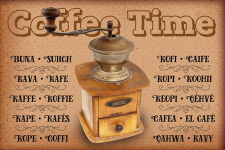 Antigue coffee mill with text Stock Photo
