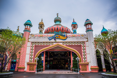 Nantou County, Taiwan - May 10 2018: The Formosan Aboriginal Culture Village is an amusement park in Yuchi Township. This is Aladdin Square, An indoor facility that houses various small attractions.