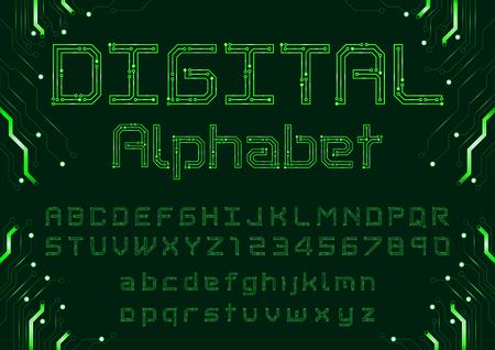 DIgital circuit neon alphabet Illustration