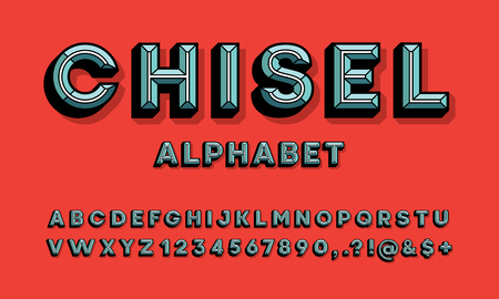 colorful chisel style alphabet design Stock Vector - 114961653