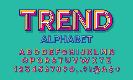 colorful chisel style alphabet design Stock Vector - 114961655