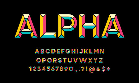 colorful chisel style alphabet design Illustration