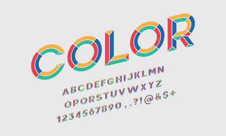 colorful chisel style alphabet design Illusztráció