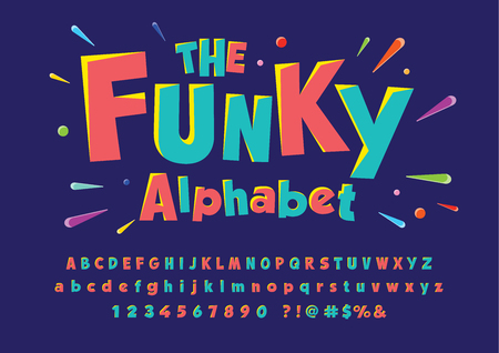 Colorful stylized font and alphabet Stock Illustratie