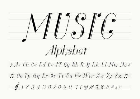 Vector of music note font and alphabet