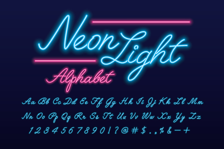 Glowing neon light script alphabet