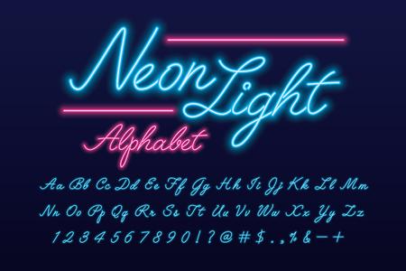 Glowing neon light script alphabet 免版税图像 - 114962128