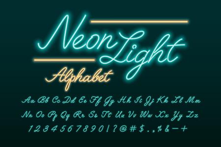 Glowing neon light script alphabet Vektoros illusztráció