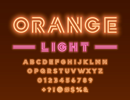 Glowing orange and pink neon light alphabet