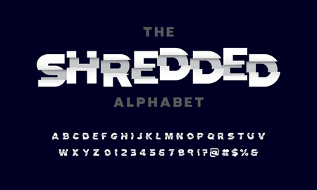 Vector of stylized shredded font and alphabet design