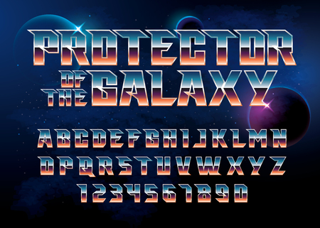 SuperHero font. Metallic effect letters and numbers on an universe background