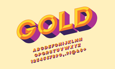 colorful chisel style alphabet design Ilustrace