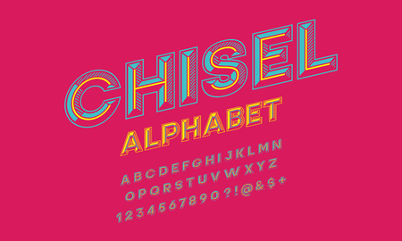 colorful chisel style alphabet design Stock Vector - 116917488