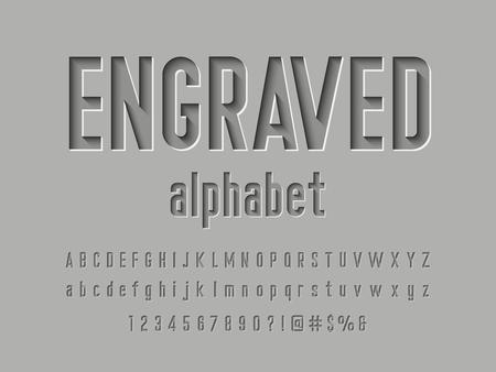 Diseño de alfabeto grabado Ilustración de vector