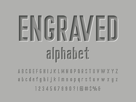 Engraved alphabet design Vectores