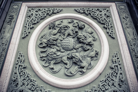Beautiful walls sculptures and decorative plaques at Wenwu Temple 스톡 콘텐츠