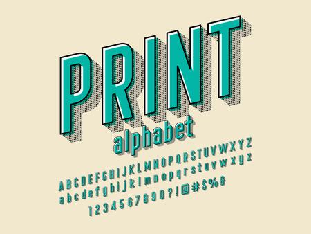 Offset printing style alphabet design