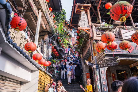 Jiufen, Taiwan - June 6, 2018: Jiufen Old street is a famous scenic in Ruifang District, New Taipei City, Taiwan.