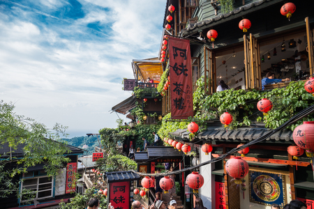 Jiufen, Taiwan - June 6, 2018: Jiufen, an old gold mining town at the northern coast of Taiwan, and the hillside tea house is the famous landmark in Jiufen.