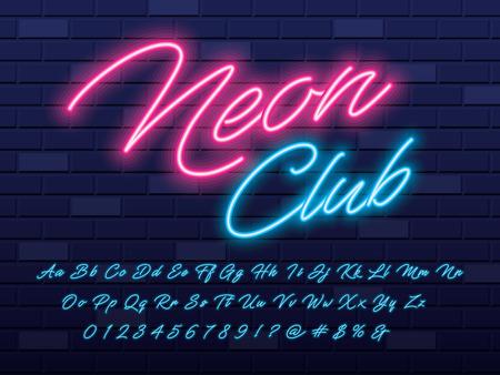 Glowing neon light alphabet design Illustration
